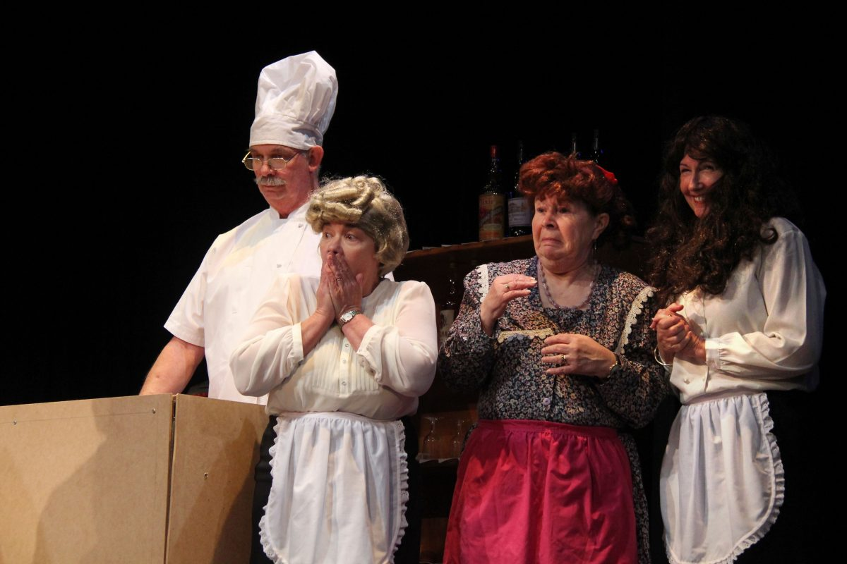 Kevin Tengvall, Louise French, Debbie Tengvall, and Sue Crook react to events in the show 'Allo 'Allo